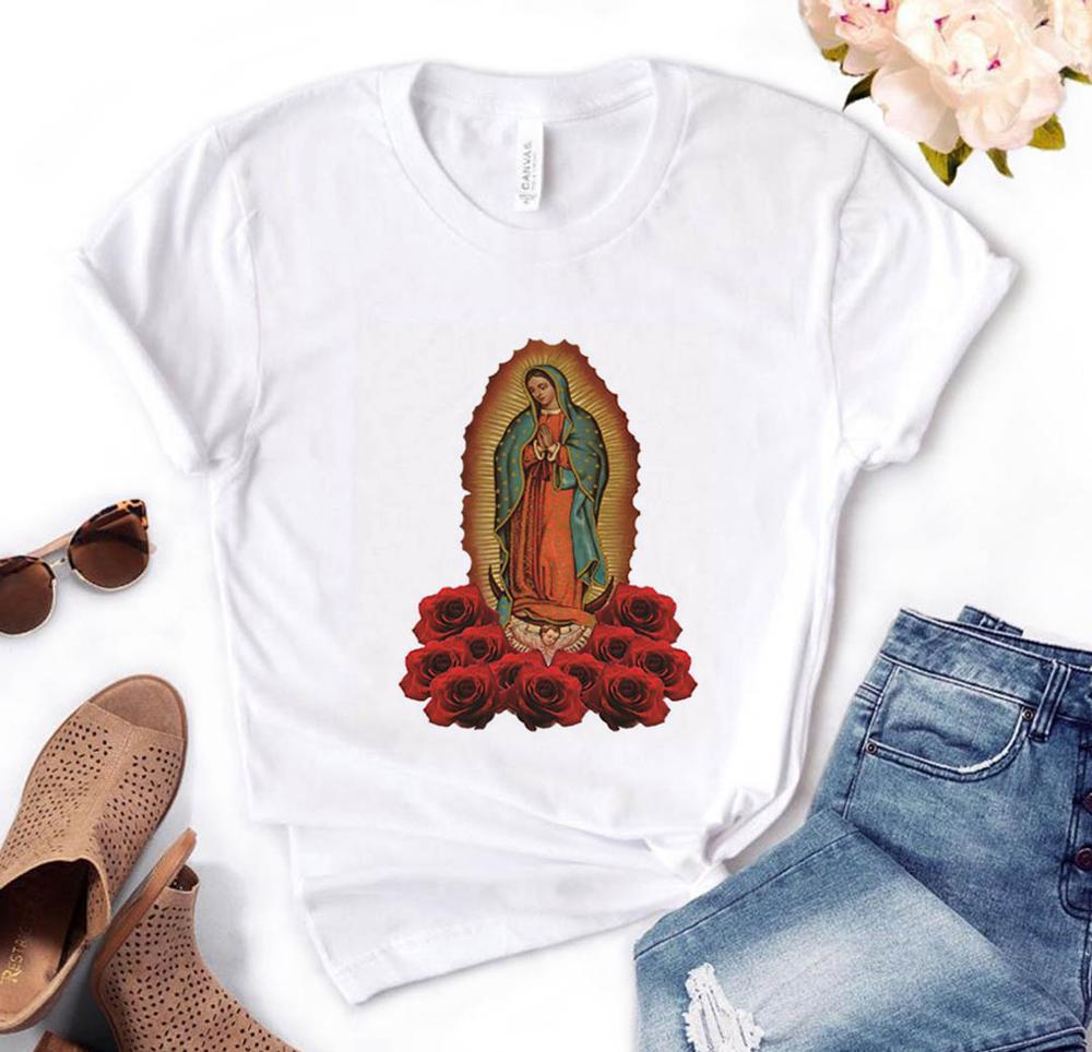 Camiseta divertida Casual de algodón para mujer con estampado de Virgen de María, regalo para dama Yong Girl, camiseta superior, PM-88
