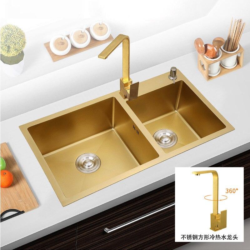 Fregaderos de cocina de lujo de oro de doble tazón de acero inoxidable fregadero de cocina Nano-revestimiento lavadero de verduras y accesorios lavadero