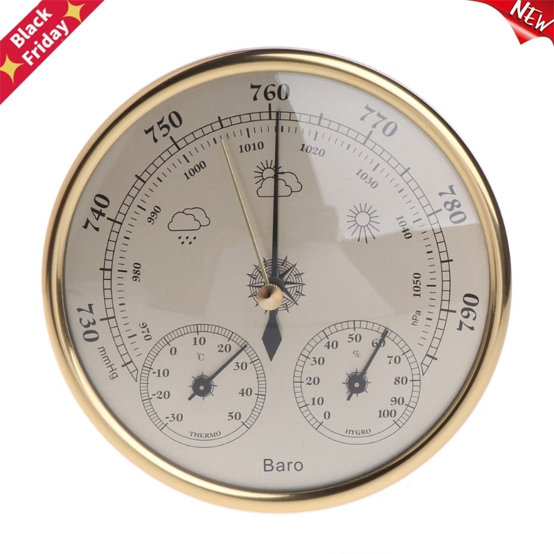 Montado na Parede do Agregado Navio da Gota Familiar Barômetro Termômetro Higrômetro Estação Meteorológica Pendurado