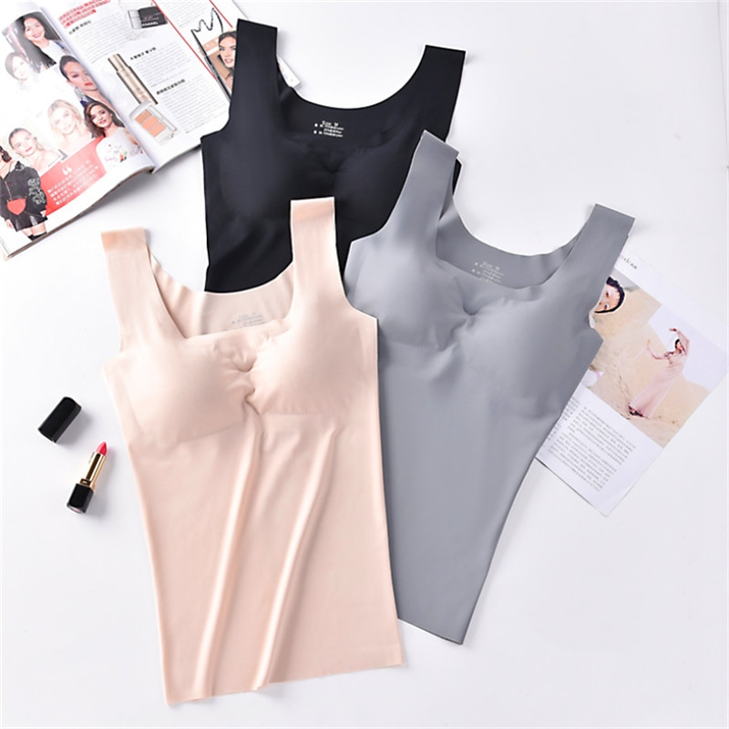 Ice Silk Tank Top Wireless Paded Lingerie Push Up Seamless Padded Vest Crop Top Tee Camisole Feminino Comfortable Sleep Cami