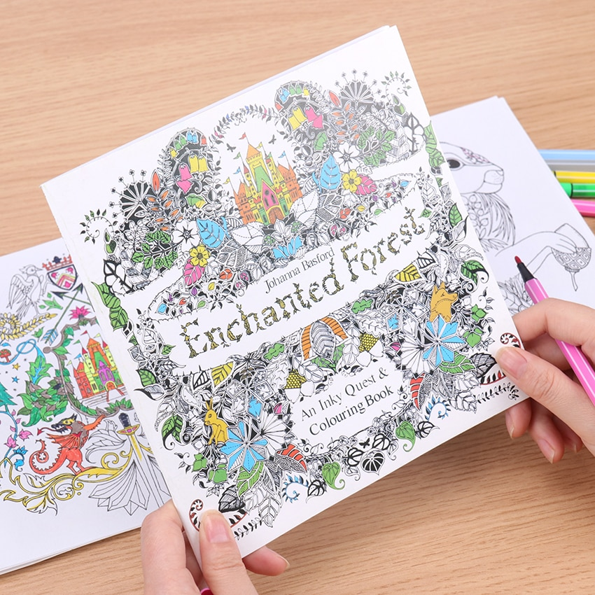 24 Pages Enchanted Forest English Edition Coloring Book For Children  Relieve Stress Kill Time Painting Drawing Book
