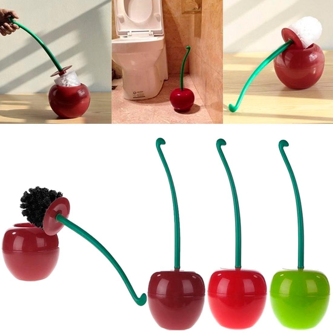 Cepillo de baño de moda, creativo, hermosa cereza, forma de cepillo para inodoro, Juego de cepillos de inodoro y soporte, Move Cherry 380x130mm