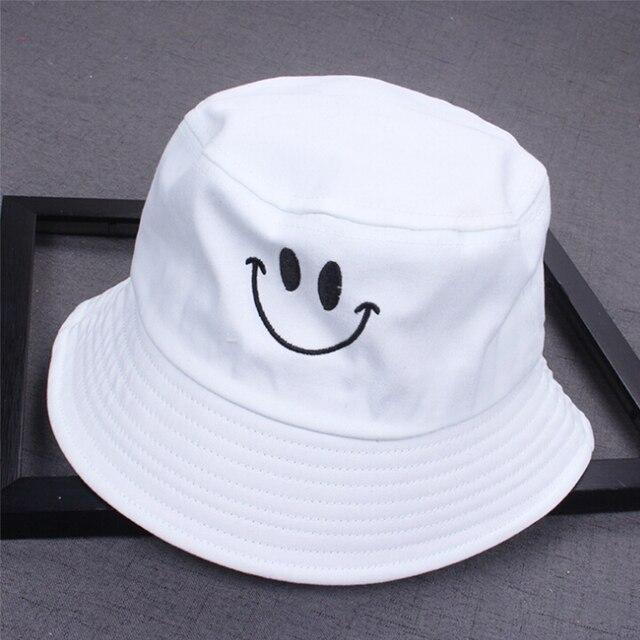 1PC Women Smile Bucket Hat Double Sided Bucket Hat Smiling Face Unisex Fashion Bob Cap Hip Hop Gorro Men Summer Cap 10