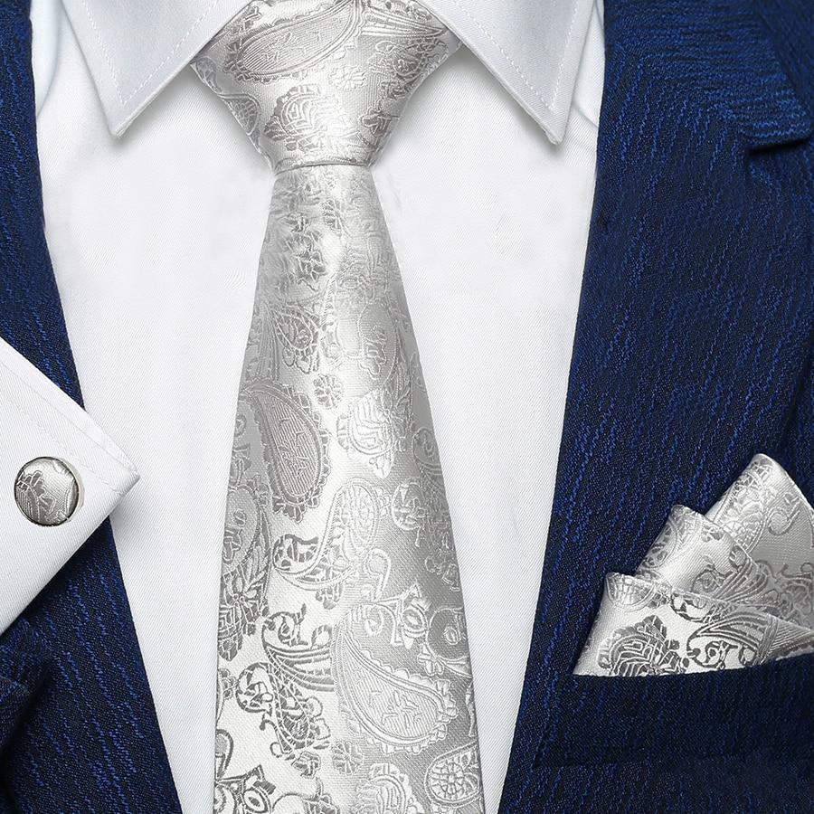 Men Fashion Silver Gray Paisley Pure Color Silk Woven Men Tie Necktie Handkerchief Set Party Wedding Classic Pocket Square Tie