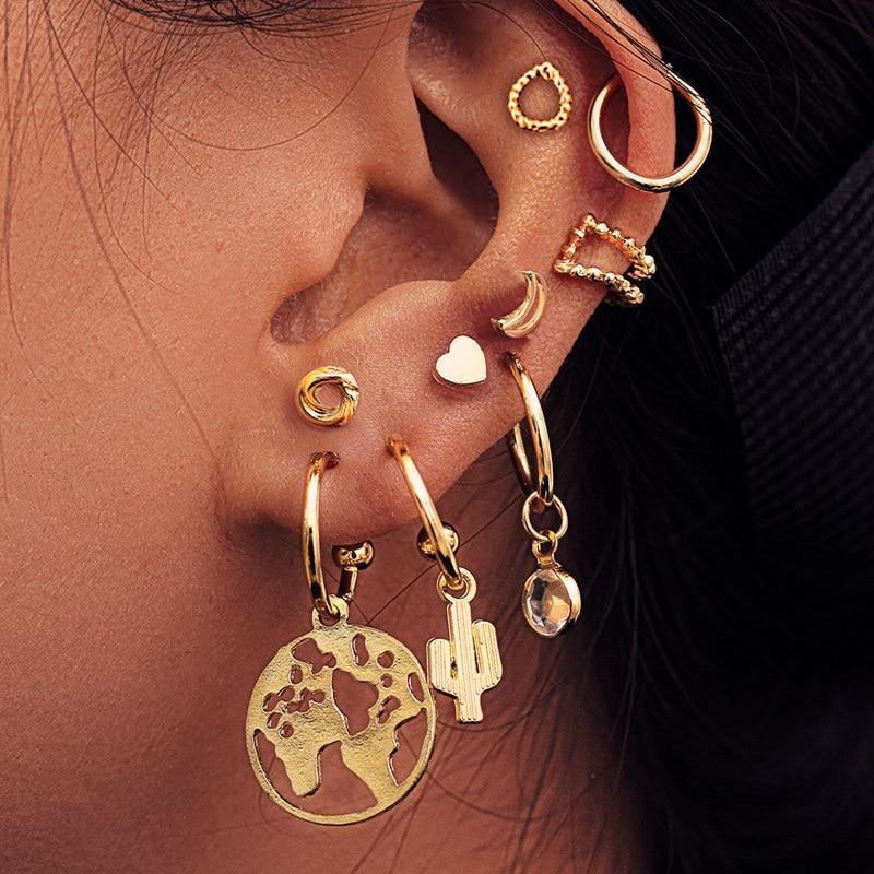 9 Uds pendiente de moda Retro estrella Luna Tamaño de uña cinco puntas estrella de cristal aleación sin Piercing pendientes combinación