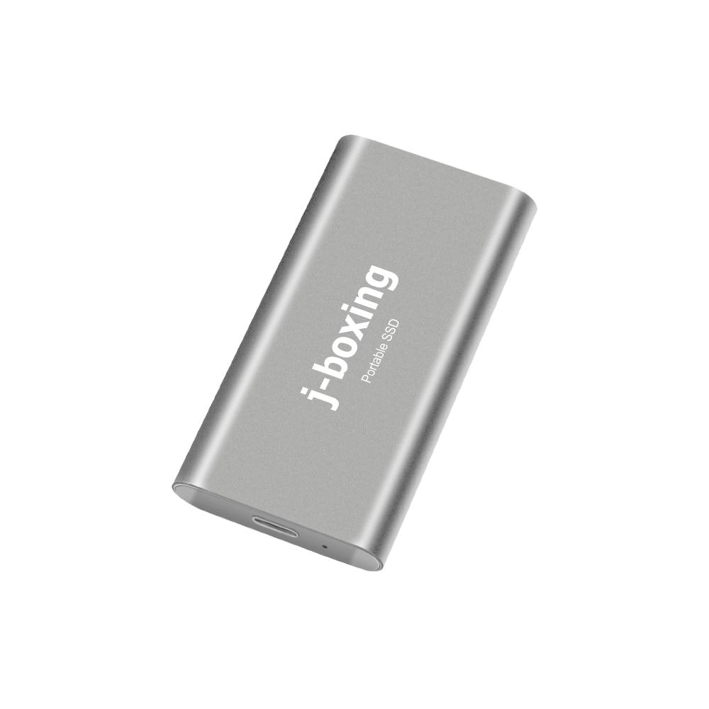 J-الملاكمة بسرعة فائقة SSD 256GB محرك الحالة الخارجية الصلبة المحمولة-USB-C USB 3.0 للكمبيوتر/الكمبيوتر المحمول/ماك/الروبوت/Xbox/PS4 الفضة