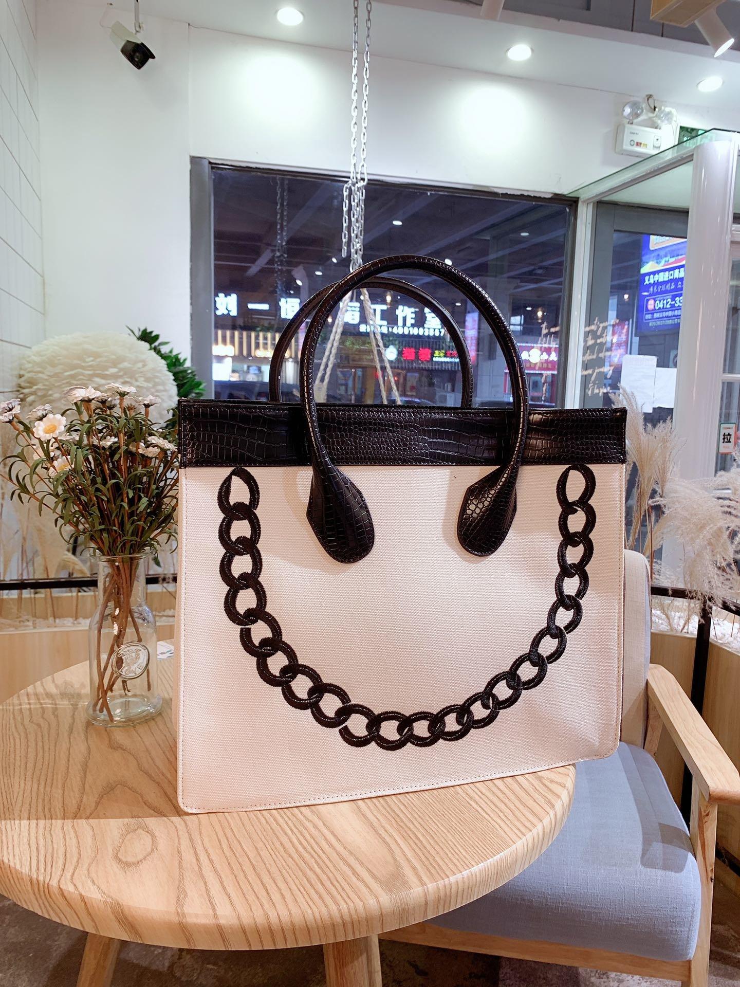Bolso de compras con bordado de lona para mujer de bolso de...