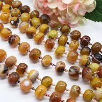 2strandslot smooth round oval yellow pattern agate natural stone beads for diy necklace bracelet woman gift jewelry making 15
