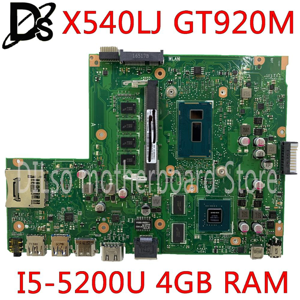 KEFU X540LJ Motherboard For ASUS X540LJ X540L F540L X540 Laptop Motherboard I5-5200U 4GB RAM GT920M-2GB tested work 100%