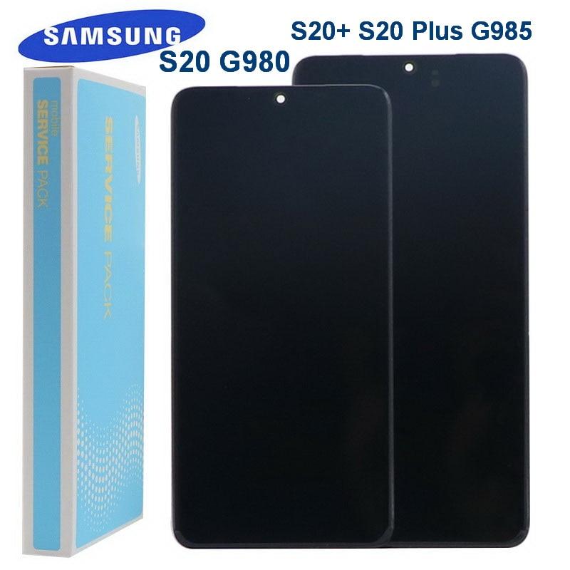 العرض الأصلي لسامسونج غالاكسي S20 G980 G980F G980DS شاشة S20 + S20 زائد G985 G985F LCD تعمل باللمس محول الأرقام البقع السوداء
