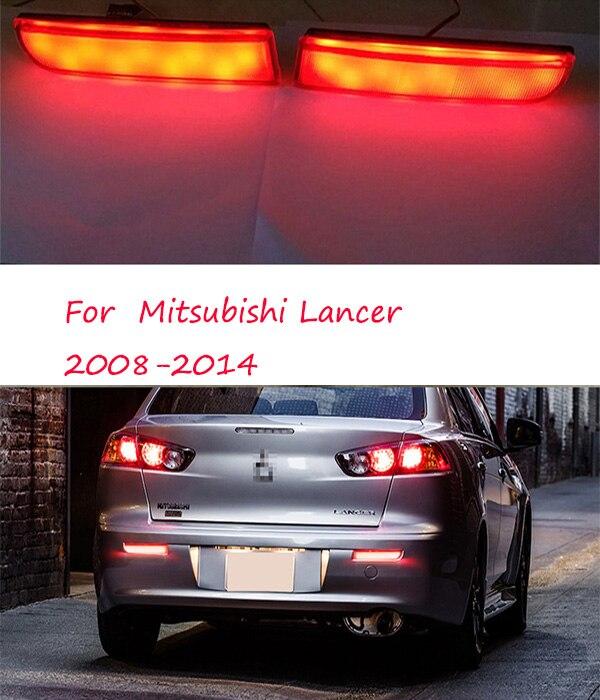 2 uds. Reflector LED de parachoques trasero lente ahumada luz trasera de frenos para Mitsubishi Lancer 2008-2014 luz trasera LED de lente roja deportiva