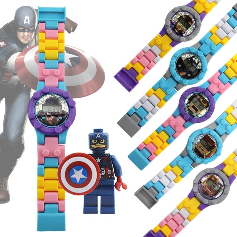 Детские электронные часы строительные блоки кубики Обучающие игрушки