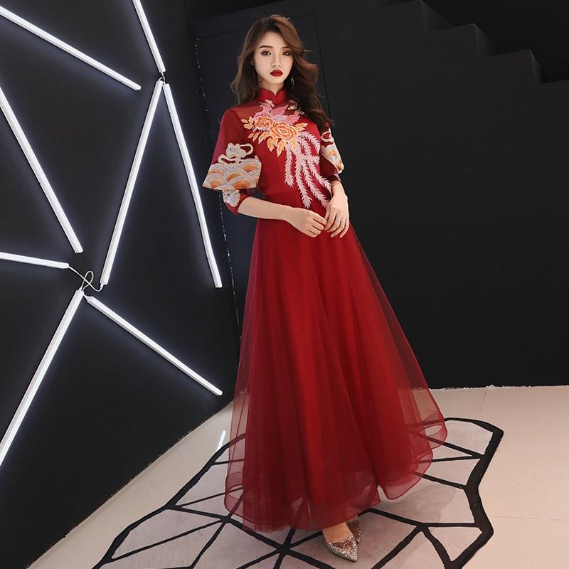 high Waist Pregnant Woman Wedding Dress Slim Invisible Zipper Embroidery Design Mandarin Collar Polyester Formal Dress ZL639 enlarge