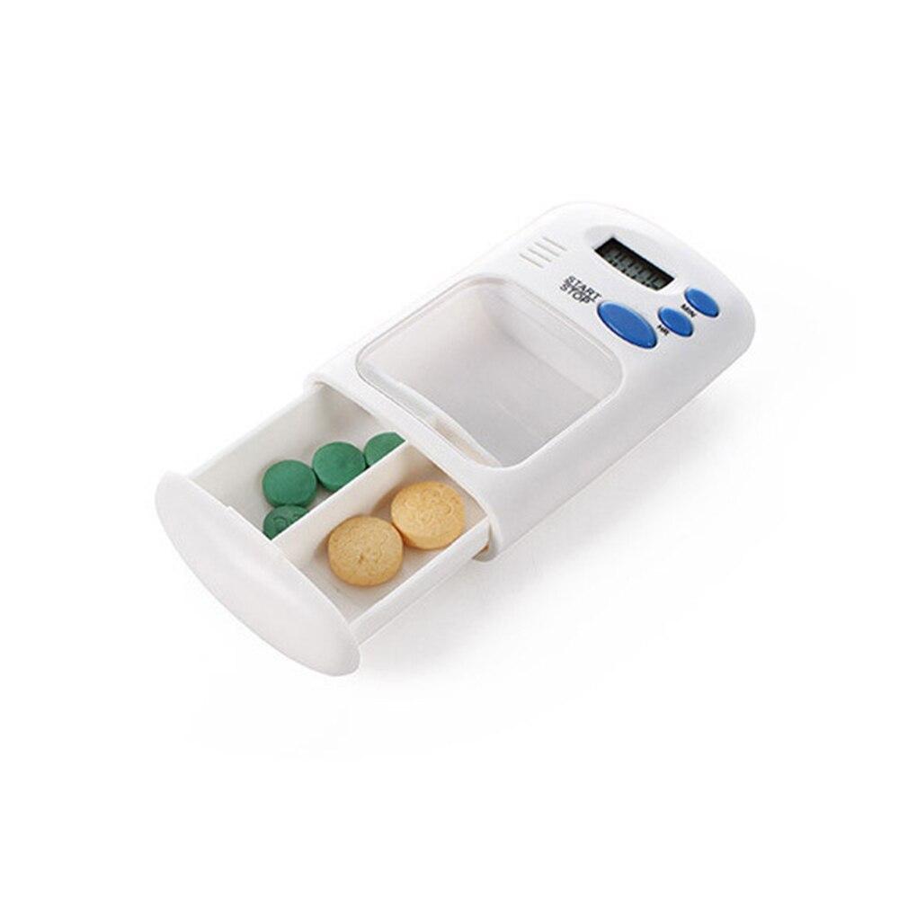 Caja para guardar medicamentos electrónica, caja de almacenamiento de 2 rejillas, divisores portátiles, recordatorio de píldora, alarma de drogas, caja electrónica con temporizador