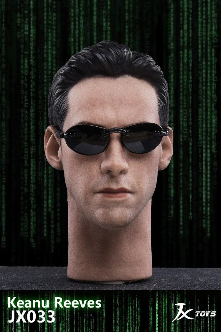 JXTOYS JX033 1/6 The Matrix neo cabeza tallada Cheanu Reeves cabeza esculpir para 12 pulgadas figura de acción muñecos de cosplay Hobby regalo DIY