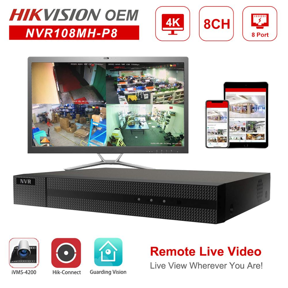 Hikvision OEM POE NVR Anpviz 4K 8MP 8CH Network Video Recorder 8 POE H.265+ Hik-Connect Network Management Up to 6TB Onvif