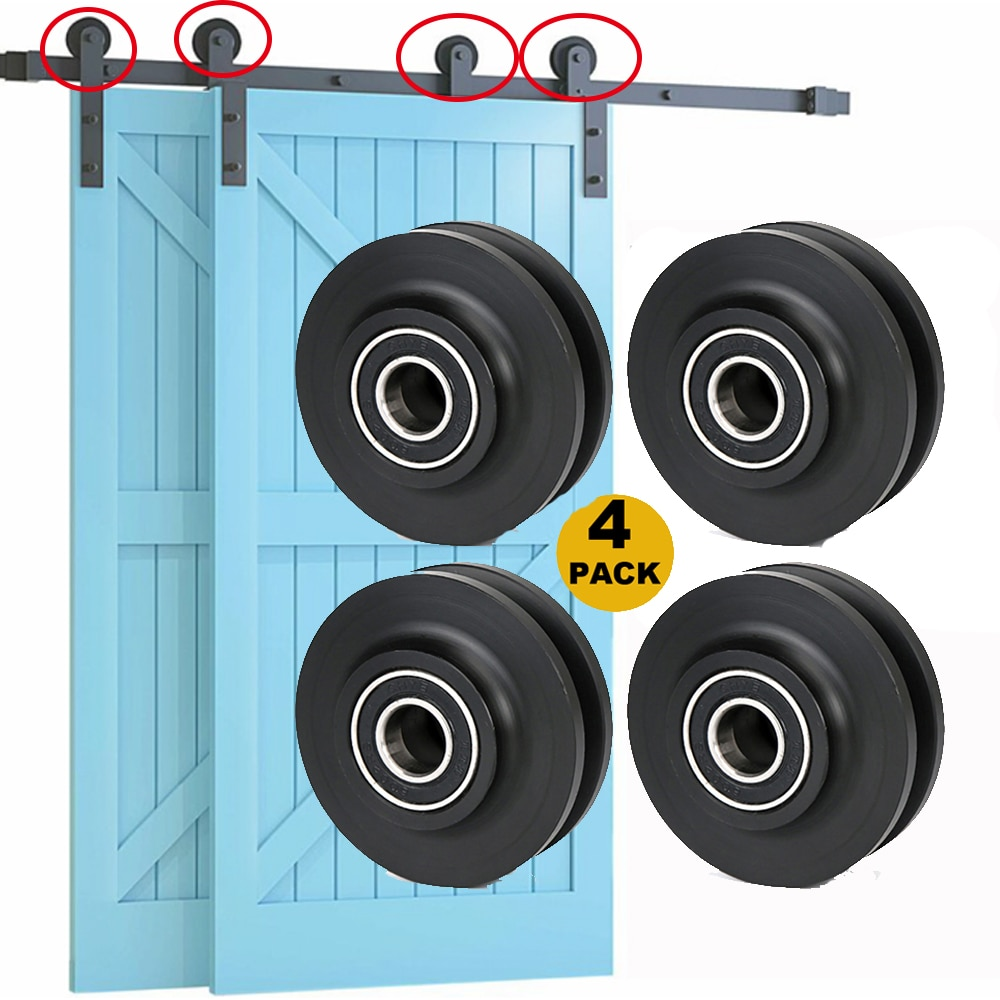 4pc Replacement Sliding Barn Door Wheel Closet Hardware Roller Window Pulley for Interior Cabinet Cupboard Drawer Door