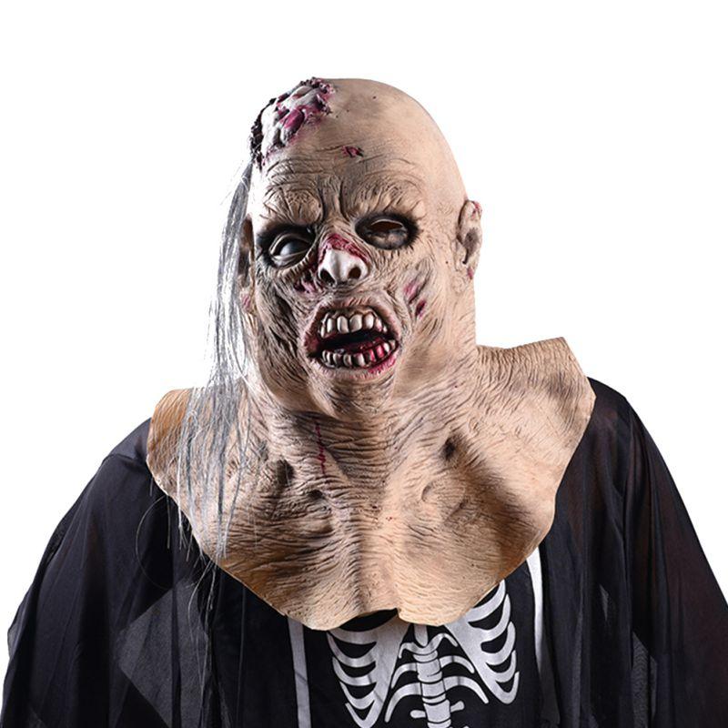 Máscara de disfraces de Cosplay de miedo espeluznante de Halloween para adultos máscara de fiesta máscara de látex de terror máscara de cara calva mala peluca fiesta capucha falsa Realisti