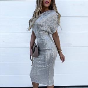 Sexy Gold Sequin Bodycon Dress 2020 Summer Glitter Dress Short Sleeves Elegant Casual Club Party Dresses Women Evening#J30