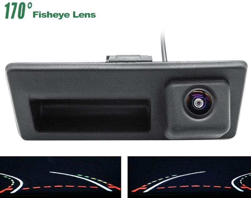 Pistas de trayectoria 1080P manija del maletero vista trasera de coche cámara para Audi A4 S4 A6 Volkswagen Golf 5 6 Passat B6 B7 sharan polo EOS