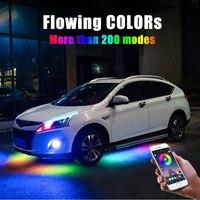 4PCS 12V IP65 App Control Flowing Color RGB LED Strip Under Car 90 120 180 Tube Underglow Underbody System Neon Light