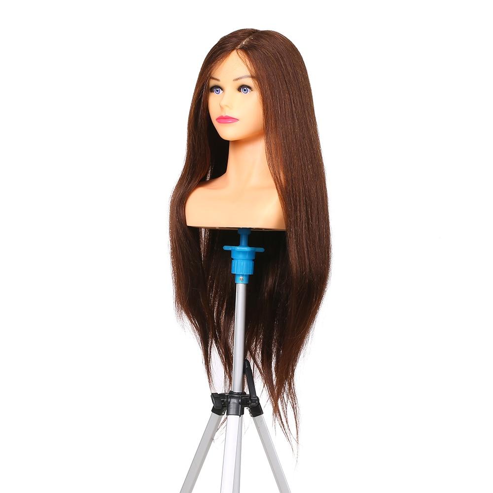 Cabeza de Maniquí de pelo humano de 100% para manicura trenzada, cabeza de maniquí para peluquería profesional, cosmetología