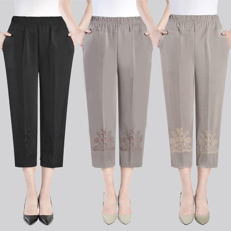 Женские укороченные брюки, летние женские Капри с вышивкой, прямые брюки до щиколотки, элегантные женские брюки с высокой талией, 2021