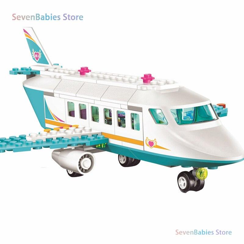 Bloques de avión privado Heartlake Olivia Matthew Jet privado Avión de bloques de construcción juegos de ladrillos Lepining niñas amigos juguetes regalos