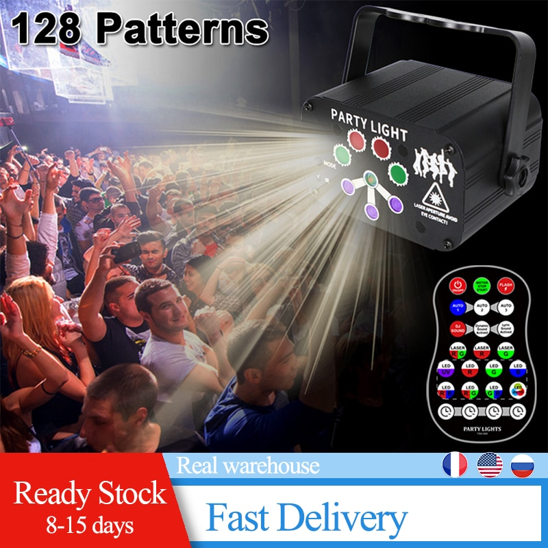 led disco light 18w dmx 512 dj rgb led party lights sound actived remote control disco lamp color changing stage lamp wedding USB 8 Hole 128 Pattern Projector Remote/Sound Actived LED Disco Light RGB DJ Party Stage Light Christmas Lamp Decoration