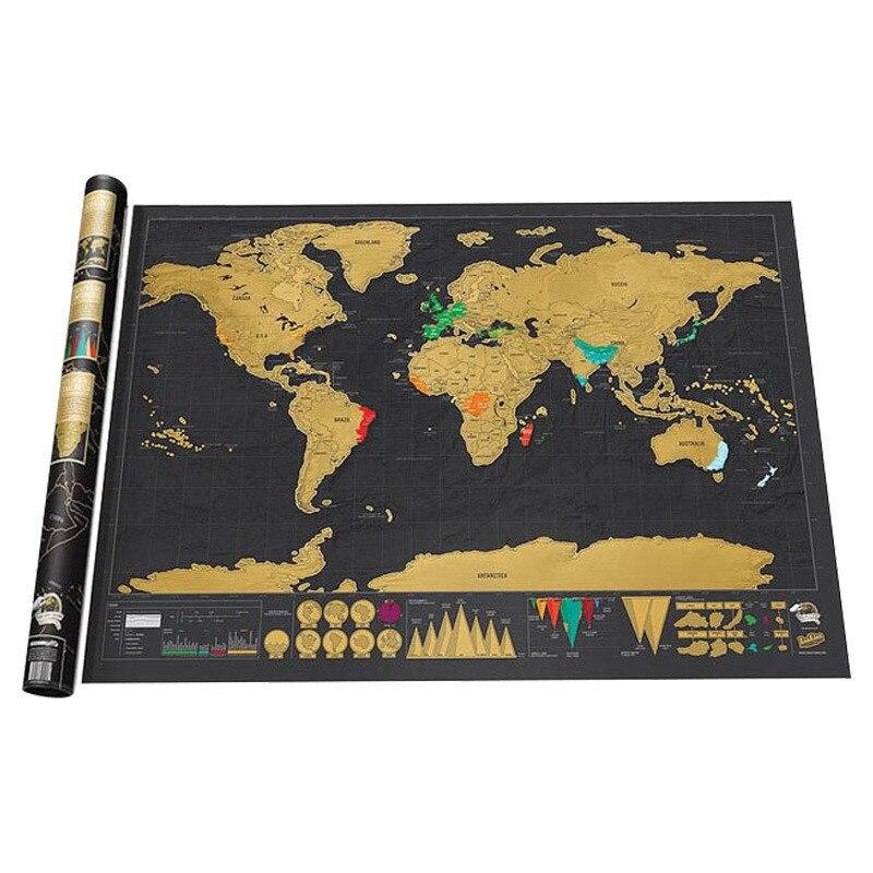 Роскошная стираемая карта мира для путешествий, персонализированная карта мира 42*30 см, креативные наклейки на стену для украшения карты