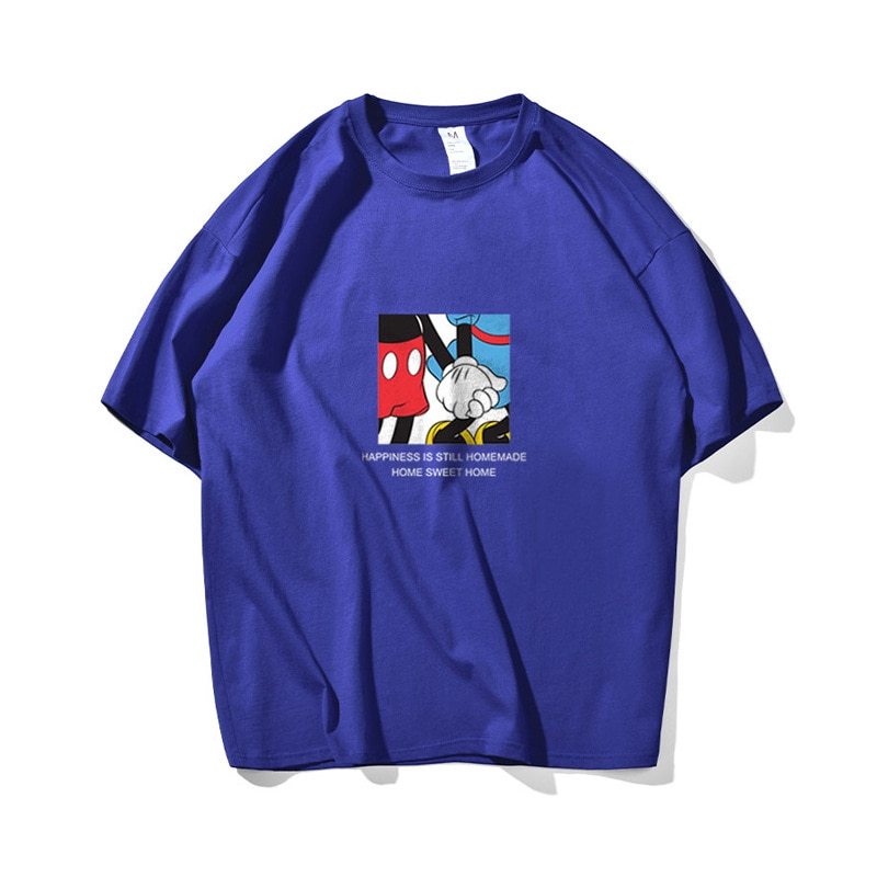 Spring and Summer New Cartoon Print Hong Kong Style T-shirt Men and Women Tide Brand Wild Loose Cotton Short-sleeved T-shirt