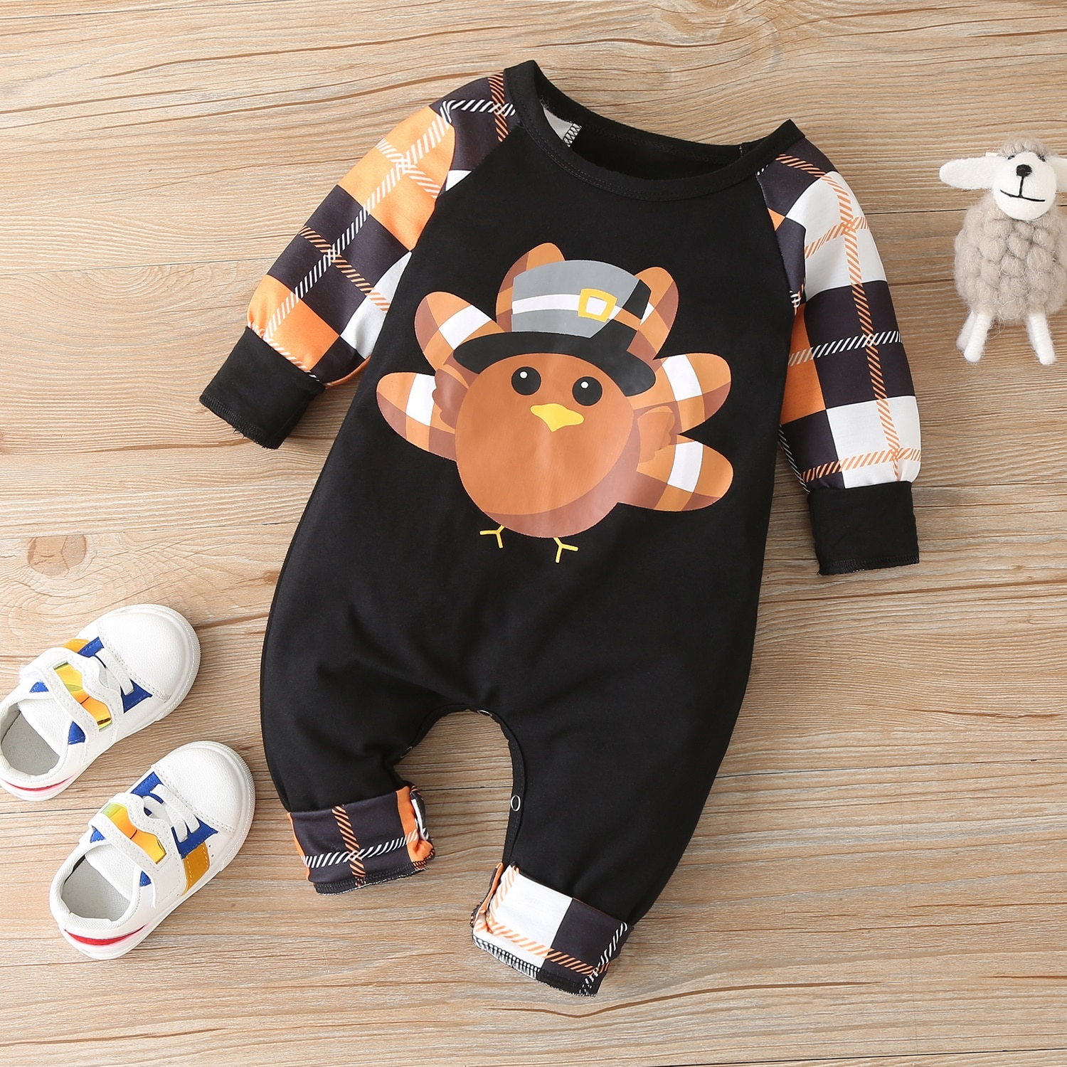 Fashion Thanksgiving Clothes Winter Fall Baby Boy Clothes Cotton Cartoon Turkey Patchwork Plaid Long Sleeve Baby Romper  0-18M