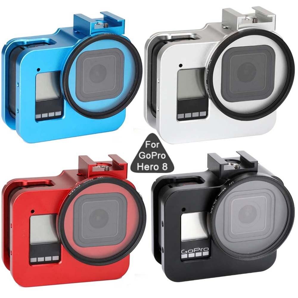 Jintft capa protetora de liga de alumínio, para gopro hero 8, armação de metal preta, gaiola de lente uv, para go pro acessórios para câmera, 8