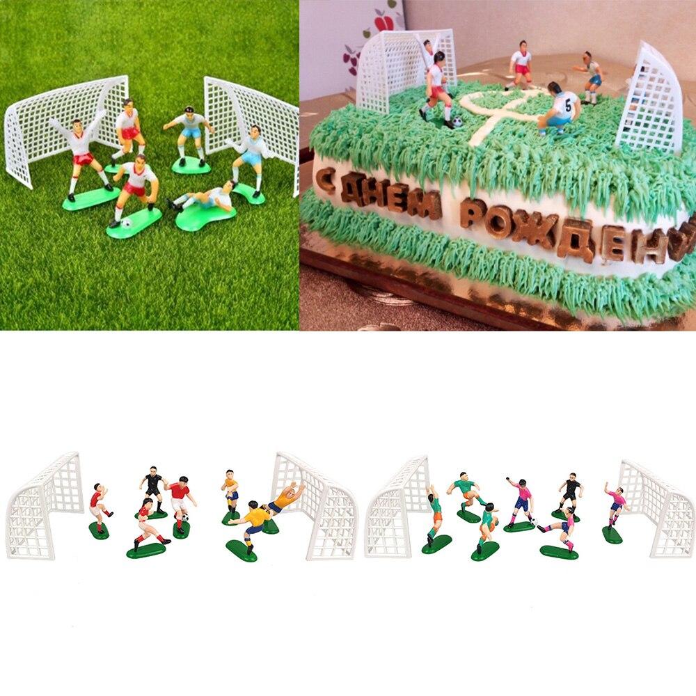 8 Pçs/set Futebol Bolo Topper Crianças Modelo Decoração de Coco Do Queque Feliz Aniversário Fontes da Festa de Crianças Decoração Do Partido