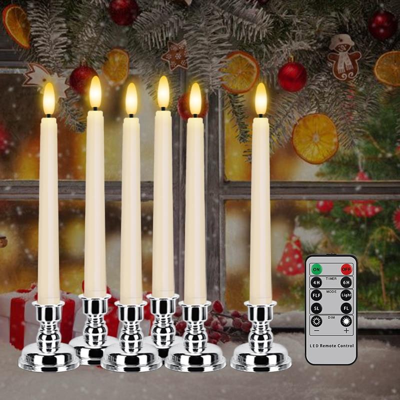 LED الشموع الإلكترونية طويلة القطب مع الموقت عن بعد و شمعة حامل ثلاثية الأبعاد عديمة اللهب وامض مخروط شمعة للمنزل زينة عيد الميلاد