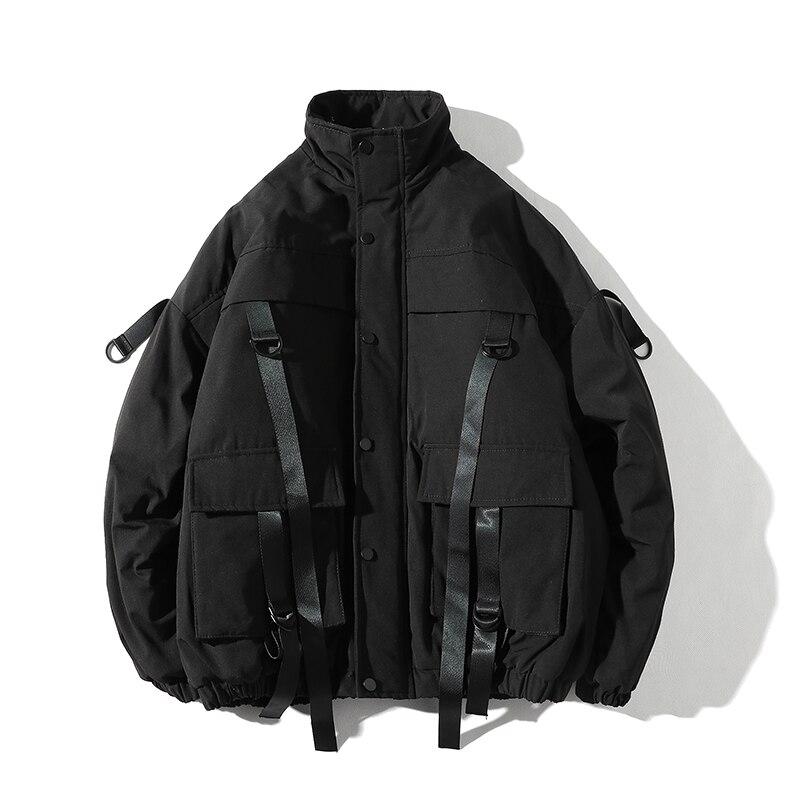 2021 Men Winter Jacket Ribbons Pockets Thick Hip Hop Streetwear Parkas Casual Padded Men's Jackets Male Clothing
