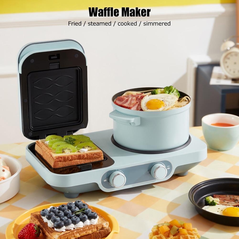 آلة الإفطار الكهربائية متعددة الوظائف ، صانع الوافل والساندويتشات ، وعاء طهي صغير ، مقلاة خبز بيتزا