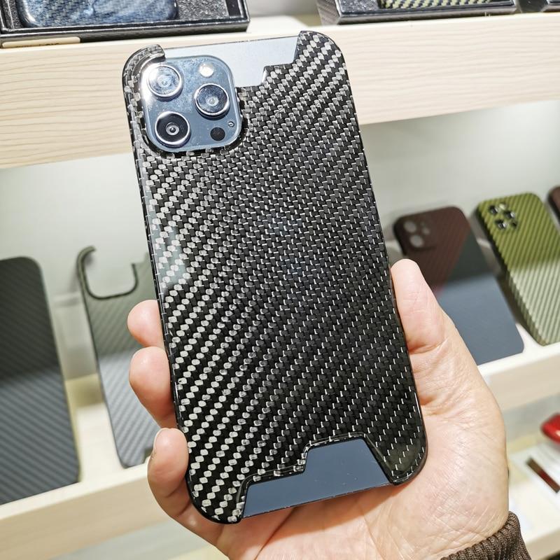 Carbon Fiber Case Voor Iphone 12Mini 12 Pro Max Ultra-Dunne, Ultra-Licht, hoge Sterkte Beschermhoes Half Ingesloten Hard Shell