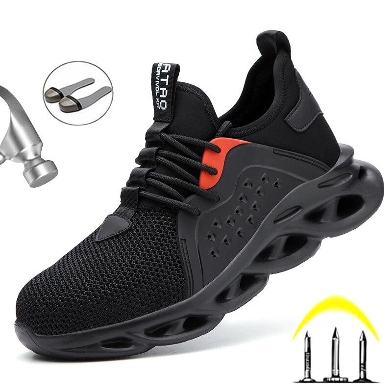 أحذية السلامة للرجال مع مقدمة فولاذية ، أحذية عمل مريحة مضادة للثقب ، غير قابلة للتدمير