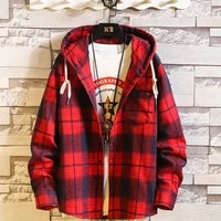 casual brand with hooded plaid shirt mens fleece red shirts long sleeves 2021 new spring autumn plus oversize s 7xl