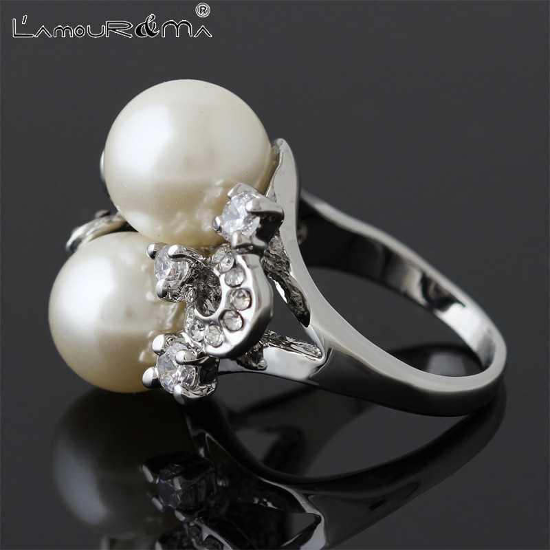 L'Amour&Ma 2021 New Fashion Luxury Vintage Flowers 2-Colors Plant Alloy Crystal Rings For Women Men Jewelry Accessories Gifts