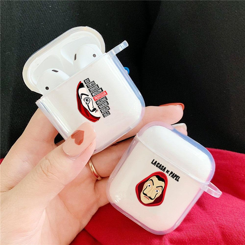 ספרד טלוויזיה La Casa De Papel אוזניות מקרה עבור Airpod 1 2 כסף שוד בית של נייר רך כיסוי עבור אלחוטי Bluetooth אוזניות תיק