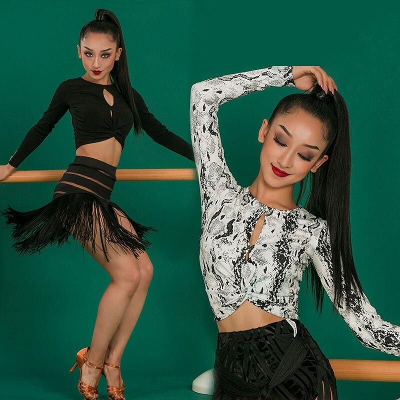 توب رقص لاتيني بأكمام طويلة ، للنساء ، بنمط ثعبان/أسود ، ملابس تمرين ، Samba Tango ، L4823