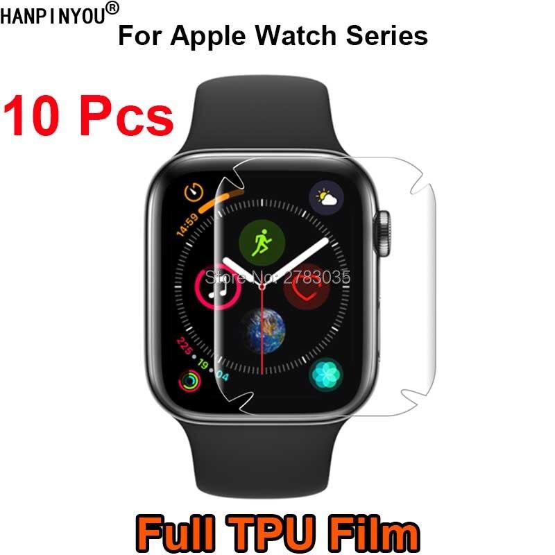 10 unids/lote para Apple Watch Series 1 2 3 4 5 40mm 44mm 38mm 42mm cobertura completa suave TPU protector de pantalla de película (no vidrio templado)