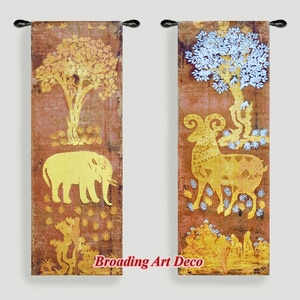 Pair of Elephant & Goat (Golden) Jacquard Weave Tapestry Wall Hanging Gobelin Home Art Decoration Cotton 100% 130x46cm Each