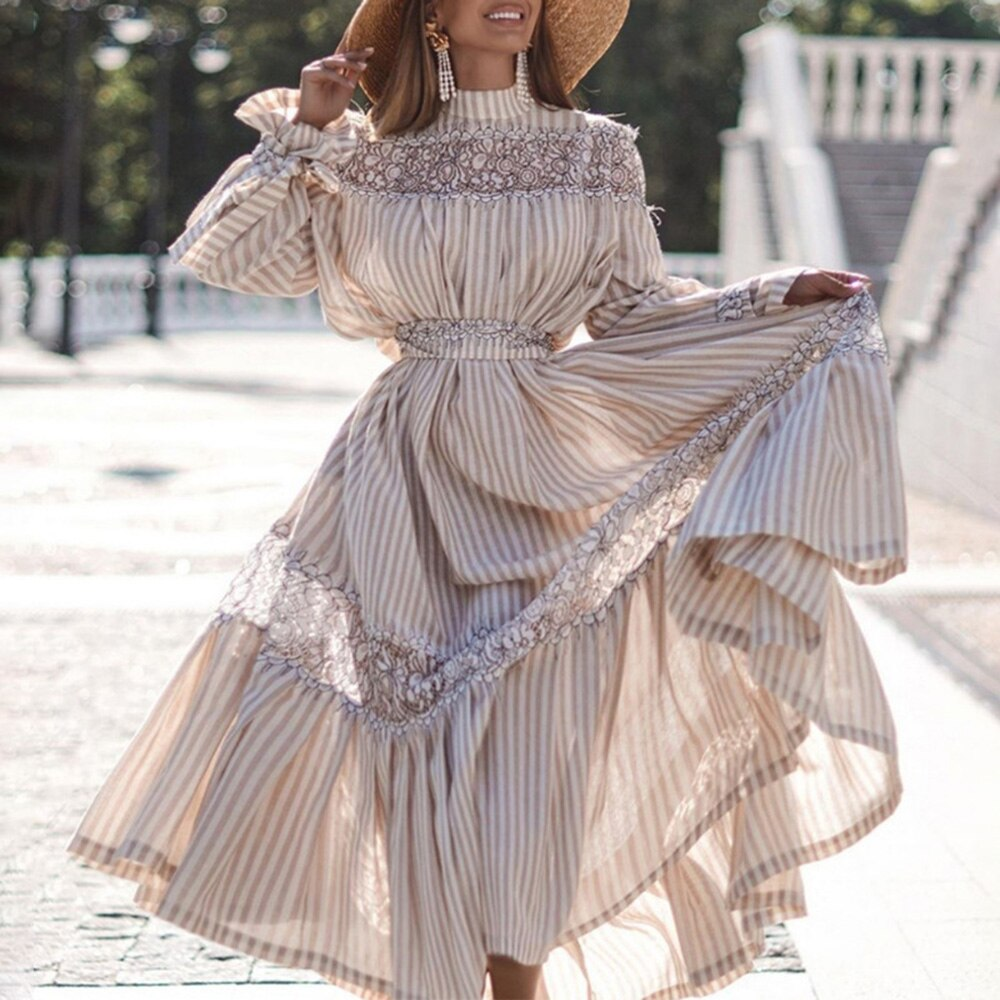 Women Full Sleeve Striped Dress Women Maxi Dress Summer Autumn Female Long Vintage Lace A Line Dress Vestidos Femme