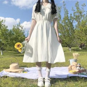 Hipster Elegant Doll Collar Student Short-Sleeve Dress Women's Japanese-Style  White Midi Skirt 2020 Summer sweet lolita dress