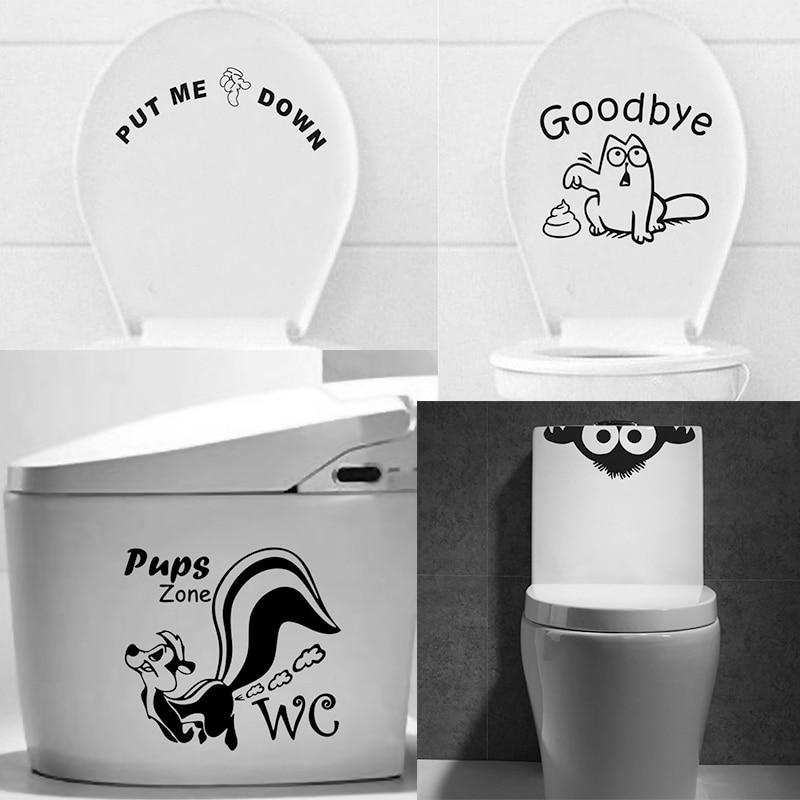 Adesivo de parede para banheiro e gato, decalque de desenho animado para parede de banheiro e gatos
