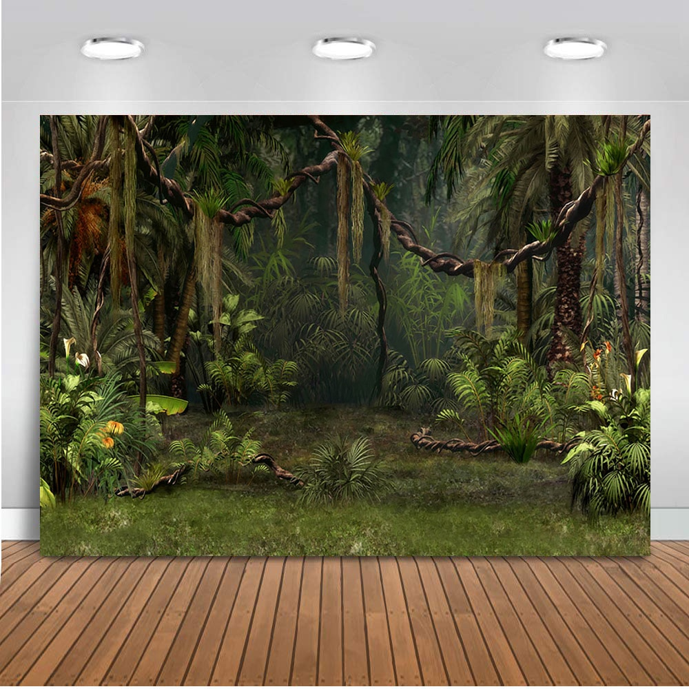 Photography backdrop forest jungle background for photo studio party decoration supplies dessert table banner green Palm tree