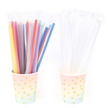 100pcs Clear Individually Wrapped Drinking PP Straws Tea Drinks Straws Birthday Holiday Event Party